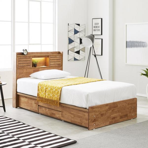 [노하우] 프레시 고무나무원목 LED 4서랍 침대 SS