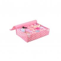 키친아트 속옷정리함 땡땡이 핑크(덮개20칸)