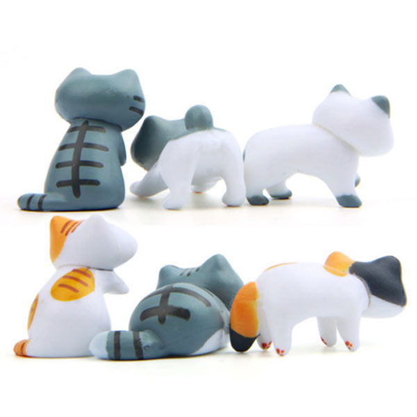 포레스 테라리움 앉은 고양이 피규어 6개세트