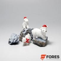크리스마스 산타 북극곰 미니어처 피규어 3개세트