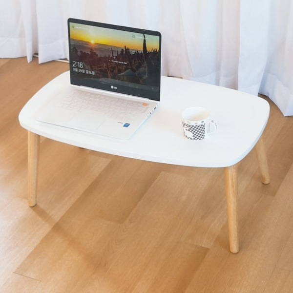 원목 좌식 접이식 테이블 화이트 750