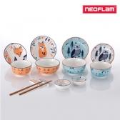 네오플램 휘바 2인 도자기 14p 식기세트