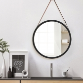 가죽 스트랩 원형 거울 화장대 벽걸이 인테리어 벽거울
