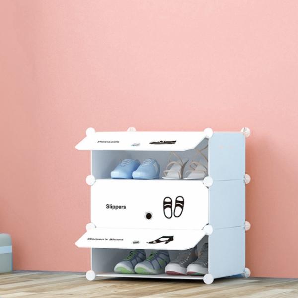 화이트 슈즈 도어형 신발장(3단)/신발정리함 신발수납