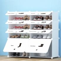 화이트 슈즈 도어형 신발장(2열4단)/신발정리함
