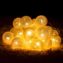 20p LED 코튼볼 골드전구(배터리) (점멸有)