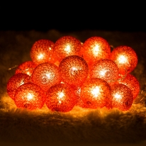 30p LED 코튼볼 레드전구(점멸有)