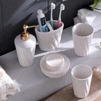 럭셔리 웨이브 욕실용품 5종 세트(화이트)