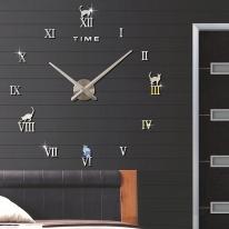DIY 무소음 로마숫자 고양이 벽시계(실버)