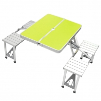 4인용 의자 일체형 접이식 캠핑테이블(그린)
