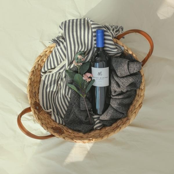 원형 라탄 해초 왕골 수납 라탄바구니
