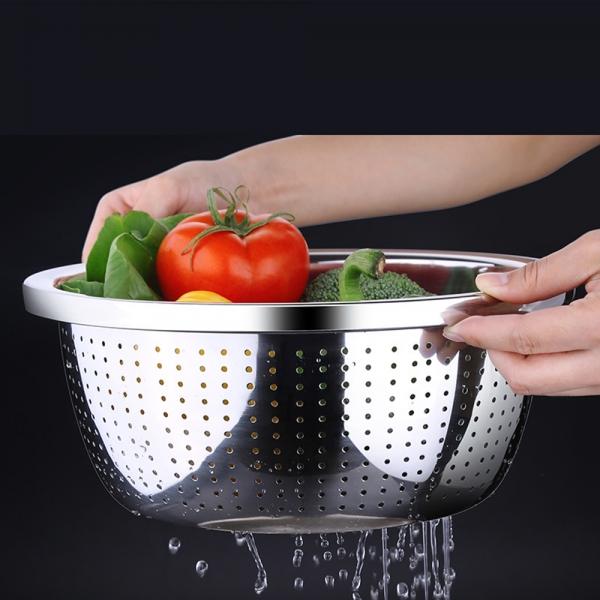[쿠킹스]스텐 채반(26cm)/물빠짐 타공채반 야채바구니