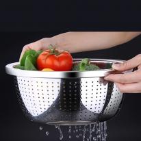 [쿠킹스]스텐 채반(28cm)/물빠짐 타공채반 야채바구니