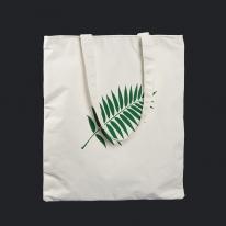 나뭇잎 캔버스백(화이트)/보조가방 지퍼형 에코백