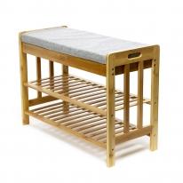 로렌 선반 겸용 쿠션의자/대나무 수납선반 보조의자