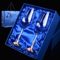 [플로이]릴리 와인잔 2p(핑크)/350ml 선물용 유리잔