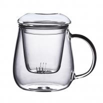 [로하티]유리 티머그 450ml/ 투명 유리잔 머그컵