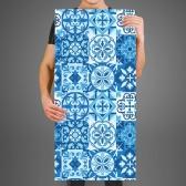 접착식 블루 조각벽지 타일패턴 패브릭 월페이퍼