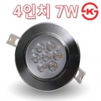LED 4인치 직회전 다운라이트 7W 크롬 IN