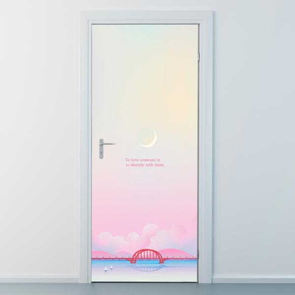 nces268-핑크빛구름-현관문시트지