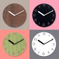 [WMC] 096 무늬목 타공 무소음벽시계