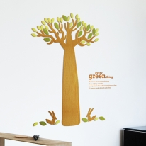[우드스티커] 바오밥이야기 (컬러완제품) - 입체우드 월데코  포인트 집꾸미기 벽장식