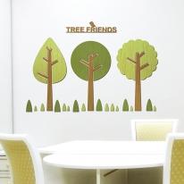 [우드스티커] 나무친구들 (컬러완제품) - 입체우드 월데코  포인트 집꾸미기 벽장식
