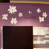 [우드스티커] 로맨틱플라워 (반제품) - 입체우드 월데코  포인트 집꾸미기 벽장식