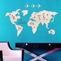 [우드스티커] 세계지도 (반제품) - 입체우드 월데코  포인트 우드스카시 벽장식