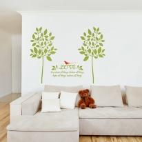 잎나무(나무2그루) 그래픽스티커 포인트 시트지 인테리어 스티커