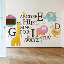 [우드스티커] abc동물나라 (컬러완제품) - 유치원 어린이집 꾸미기 아이방 맞춤제작 주문제작 원목인테리어
