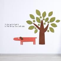우드스티커- 강아지와나무 (컬러완제)캐릭터 W504입체