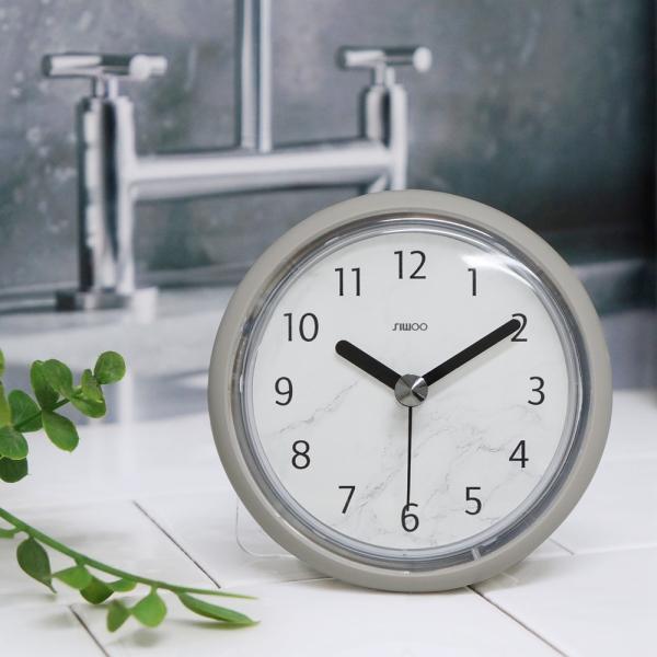 마블패턴욕실방수흡착시계(2color)/거치대 증정